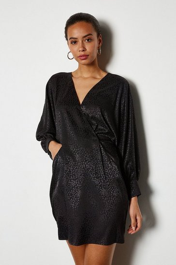 Womens Black Wide Sleeve Leopard Satin Jaquard Dress
