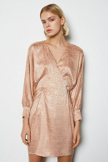 Womens Champagne Wide Sleeve Leopard Satin Jaquard Dress