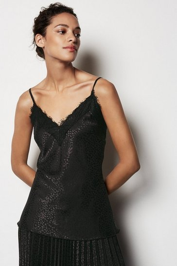 Black Lace Trim Jaquard Cami