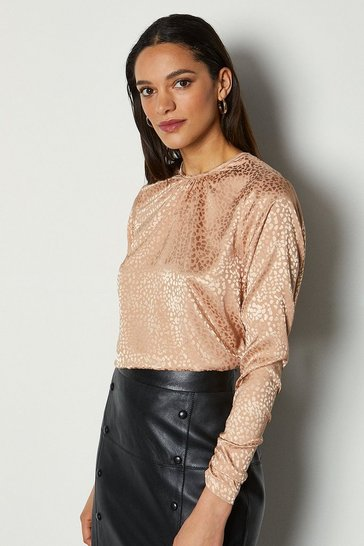 Womens Champagne Cowl Back Jaquard Blouse