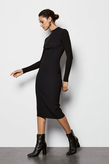 Womens Black Zip Neck Skinny Rib Dress