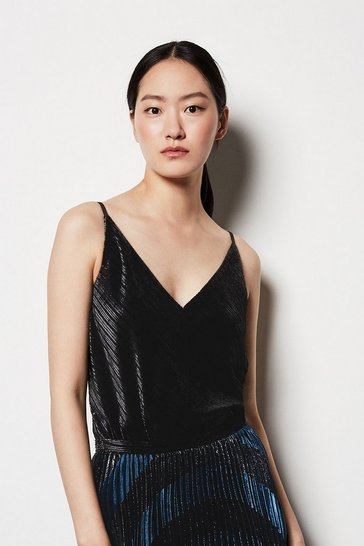 Womens Black Velvet Cami Top