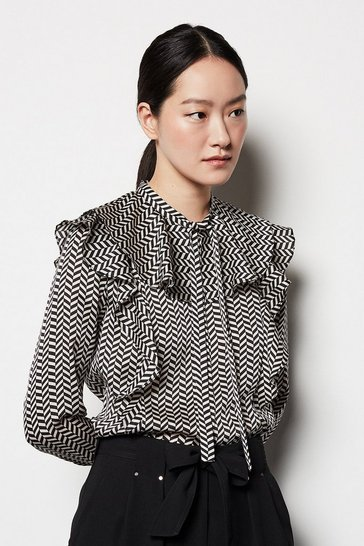 Womens Multi Herringbone Pussybow Blouse