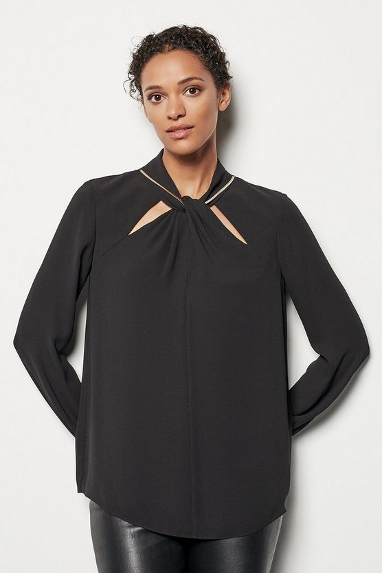 Womens Black Knot & Chain Blouse
