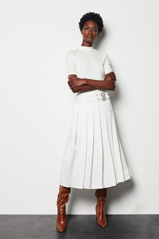 Womens White Wrap Pleat Skirt