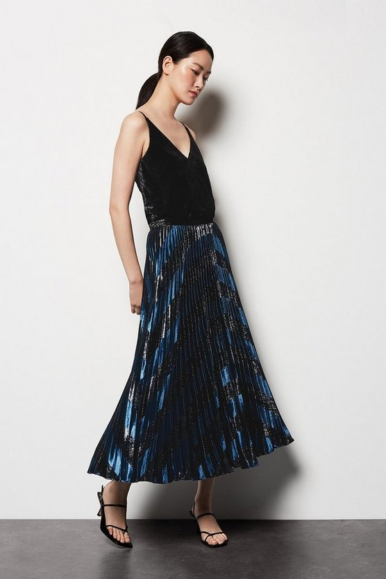 Womens Black Metallic Velvet Maxi Skirt