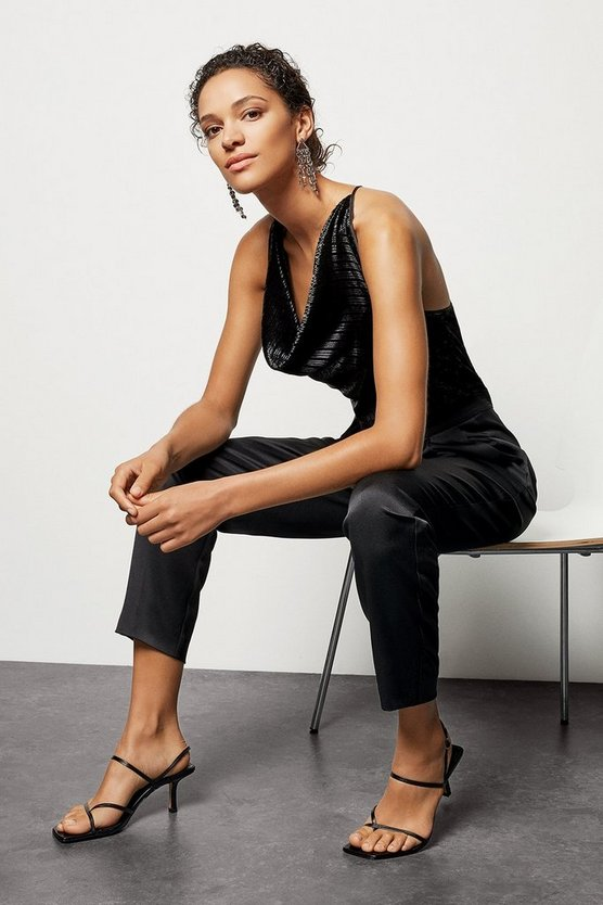 Womens Black Metallic Cowl Jumpsuit