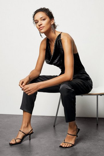 Black Metallic Cowl Jumpsuit