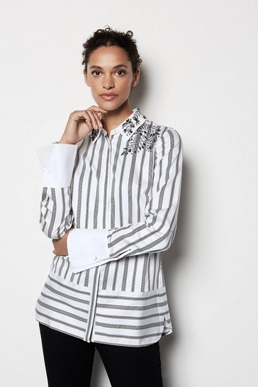 Womens Blackwhite Embellished Striped Shirt