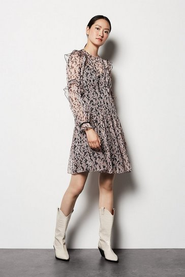Womens Pink Floral Ruffle Sleeve Dress