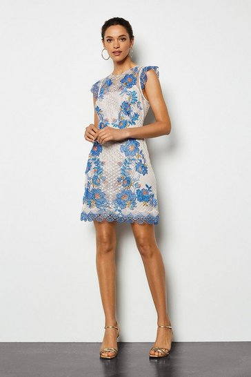 Womens Blue Floral Lace Mini Dress