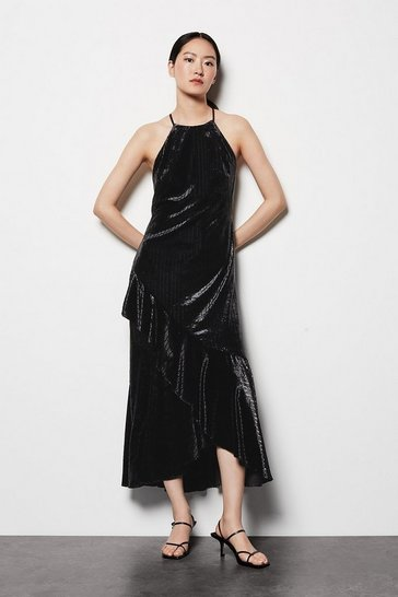 Womens Black Halter Neck Velvet Dress