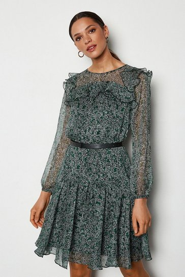 Womens Green Floral Drop-Waist Dress
