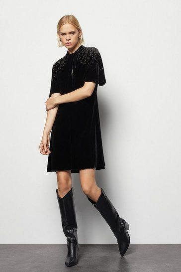 Womens Black Velvet Embellished Dress