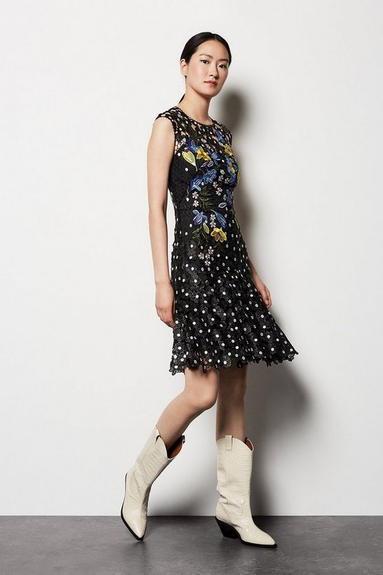Womens Black Floral Polkadot Lace Dress