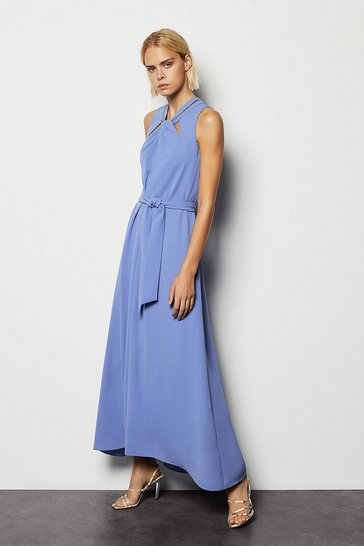 Womens Blue Knot Chain Detail Maxi Dress