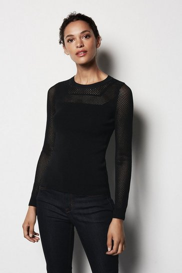 Womens Black Mesh Knit Jumper