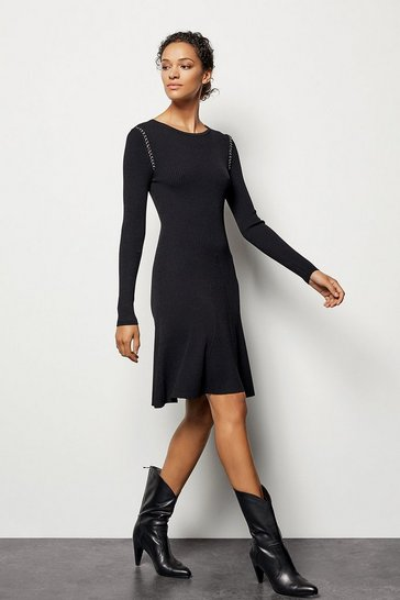 Womens Black Chain-Detail Knit Dress