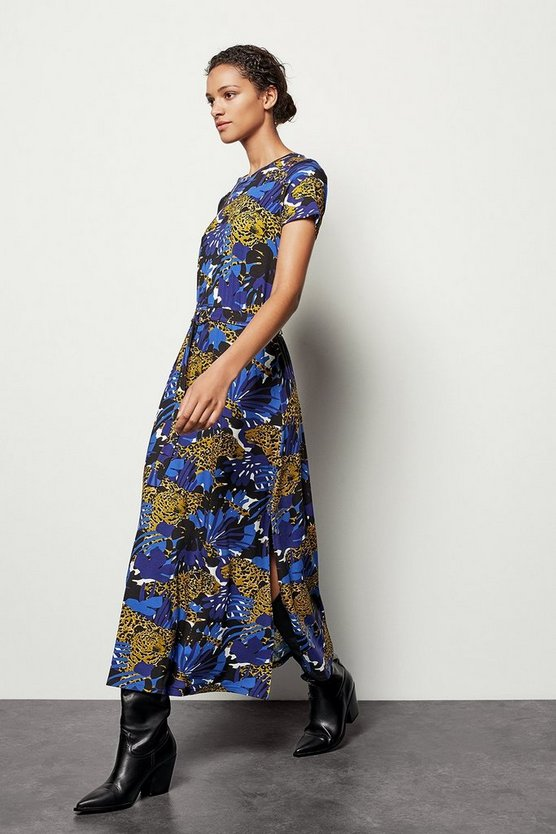 Blue Leopard Palm Print Jersey Dress