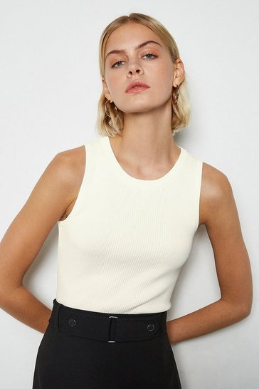 Ivory Crew Neck Sleeveless Rib Knit Vest