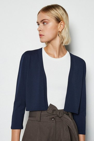 Navy Cropped Knit Bolero
