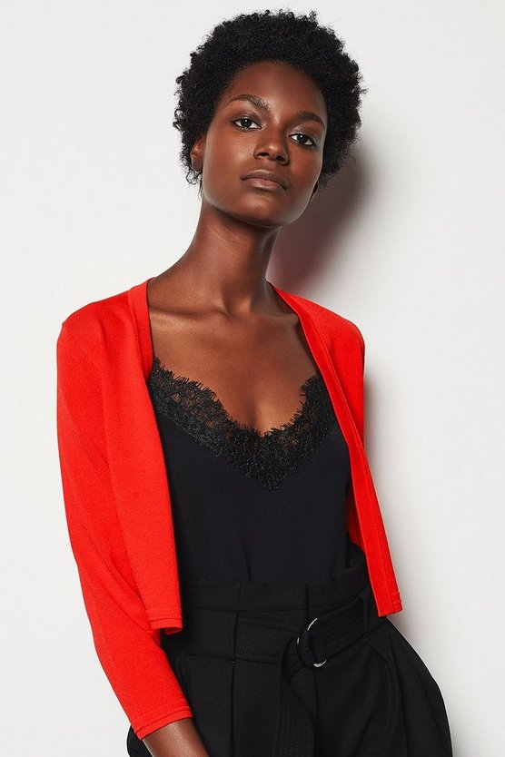 Red Cropped Knit Bolero