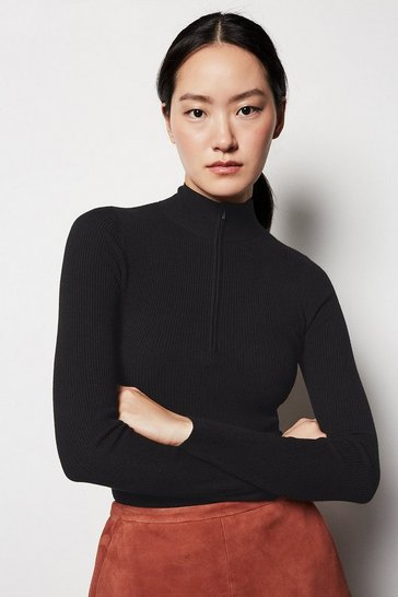 Womens Black Zip Front Jumper
