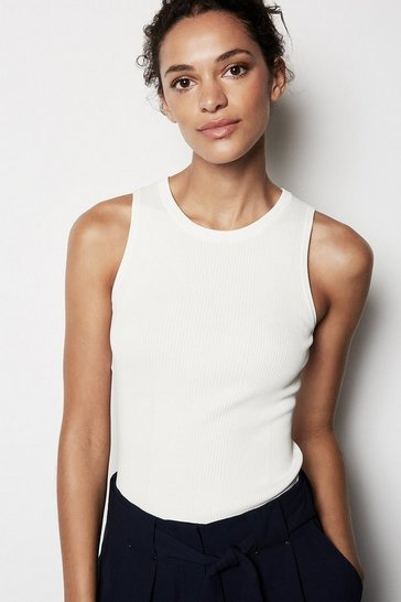 Womens Ivory Ribbed Knit Top