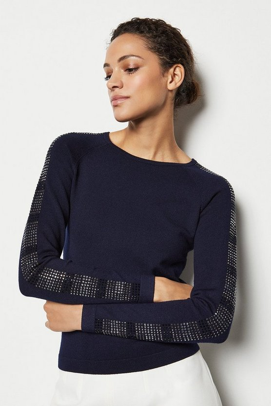 Womens Navy Crystal Sleeve Knit Jumper