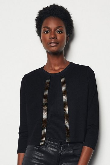 Black Embellished Front Knit Cardigan