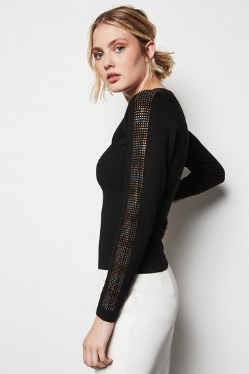 Black Embellished Sleeve Jumper