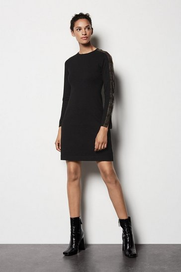 Womens Black Crystal Knit Dress