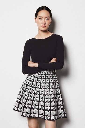 Womens Multi Geo Knit Dress