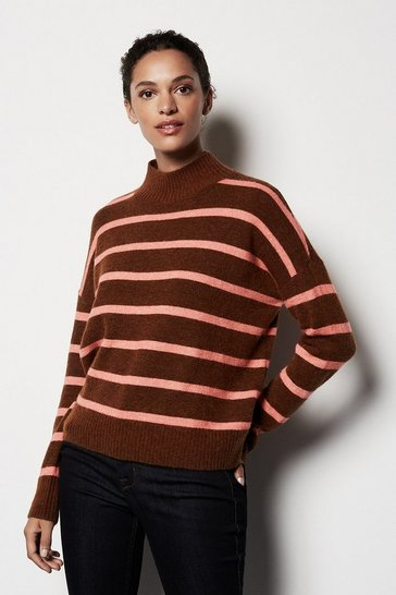 Womens Multi Pop Stripe Alpaca Jumper