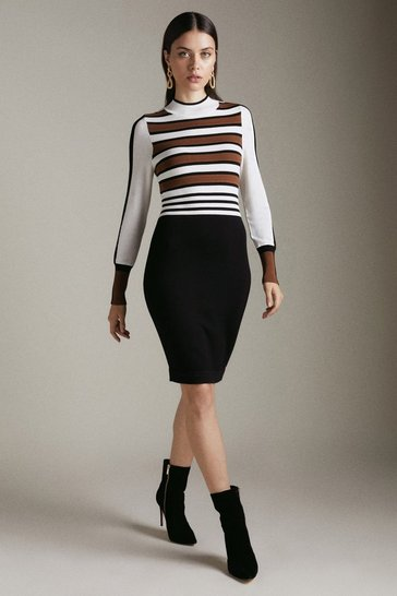 Womens Multi Bold Stripe Knit Dress