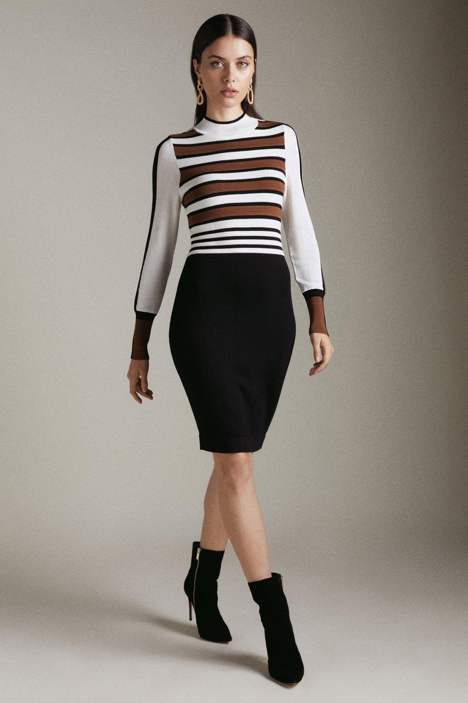 Bold Stripe Knit Dress | Karen Millen