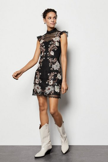 Purple Floral Lace Embroidered Dress