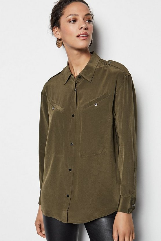 Khaki Military Silk Shirt