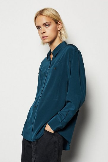 Teal Military Silk Shirt