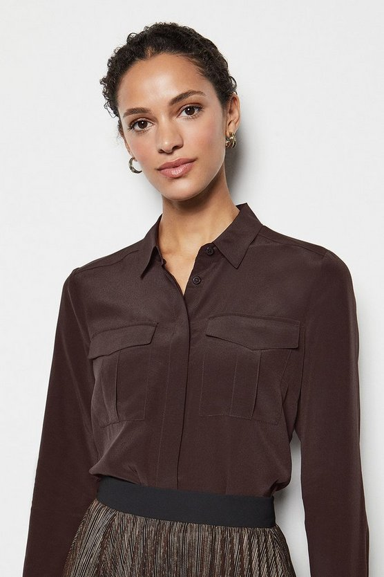 Womens Brown Safari Silk Shirt