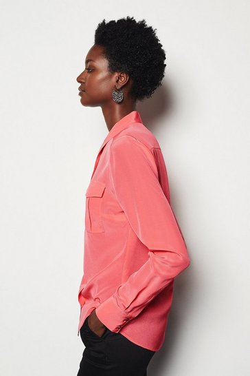 Womens Coral Safari Silk Shirt