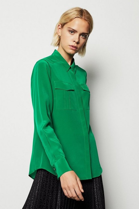 Womens Green Safari Silk Shirt