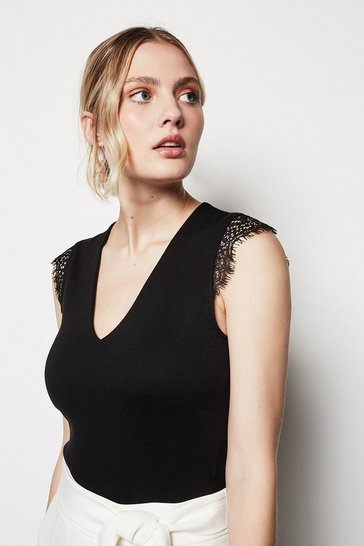 Womens Black Lace Sleeve Top