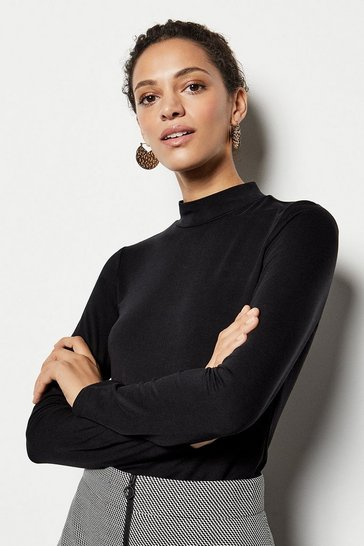 Black High-Neck Jersey Top