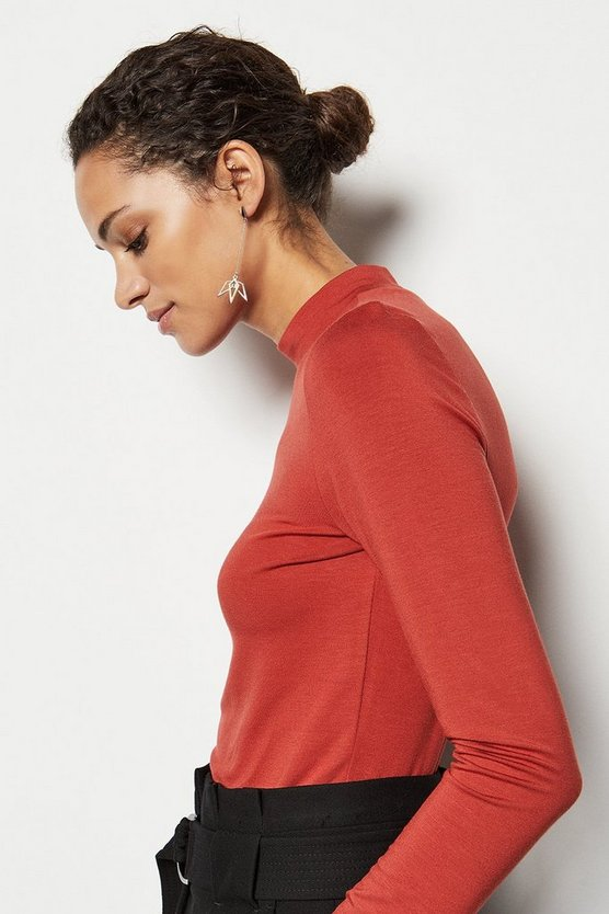 Dark red High-Neck Jersey Top