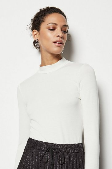 Womens Ivory High-Neck Jersey Top