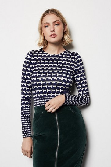 Blue Geo Colour Block Jersey Top