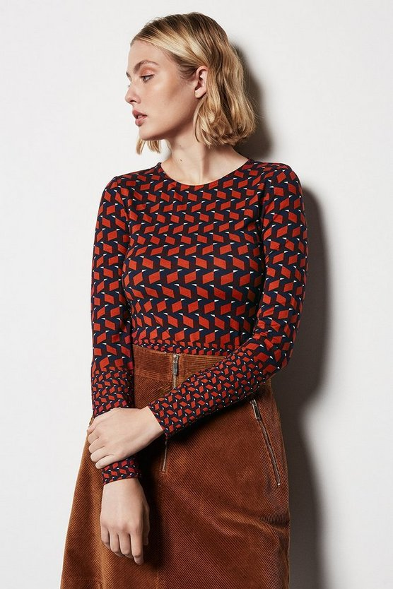 Red Geo Colour Block Jersey Top