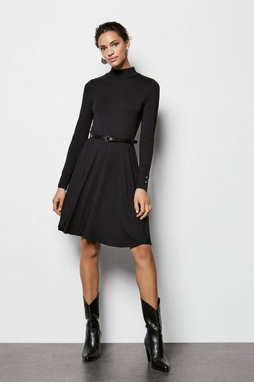 Womens Black Jersey Flared Dress