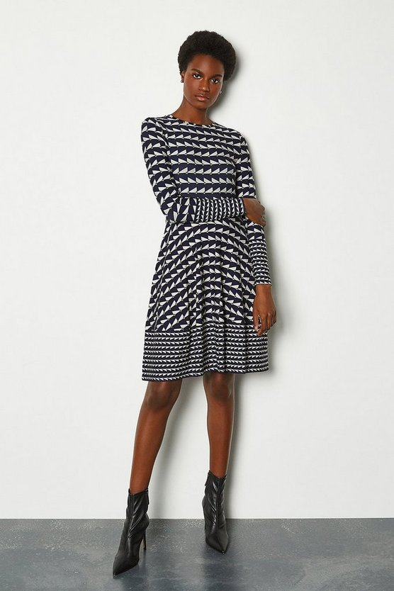 Womens Blue Geo Print Dress